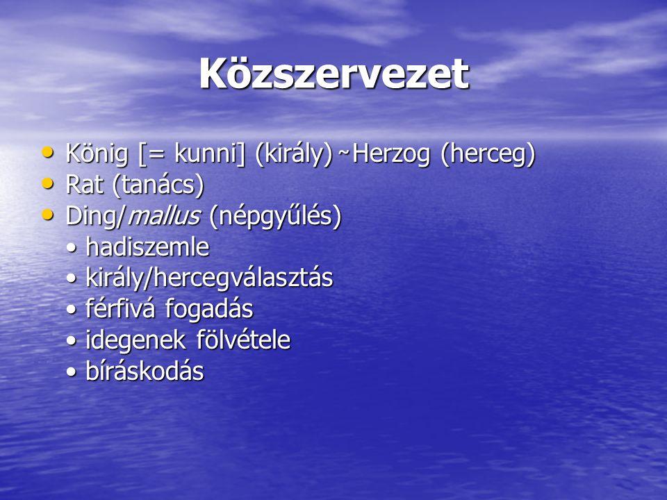 Közszervezet König [= kunni] (király) ̴ Herzog (herceg) Rat (tanács)